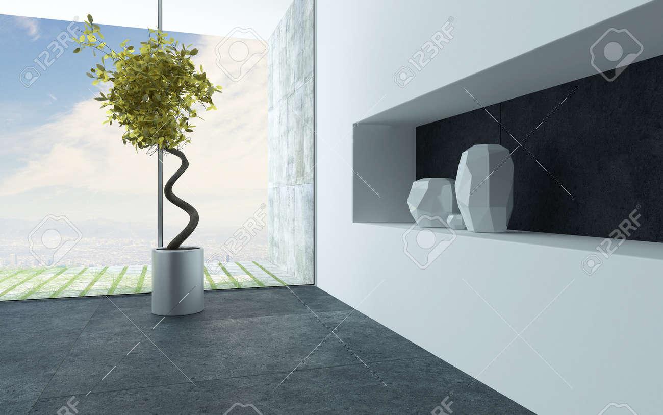Etagere Pour Plantes Interieures plante d'intérieur décoratif avec une tige en spirale et vases en céramique  blanche sur une étagère alcôve dans un salon moderne intérieur avec de