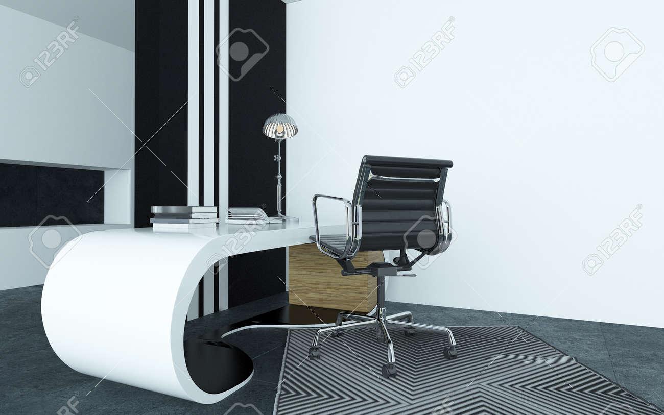 Modulaire courbé bureau blanc moderne dans un bureau avec un argent