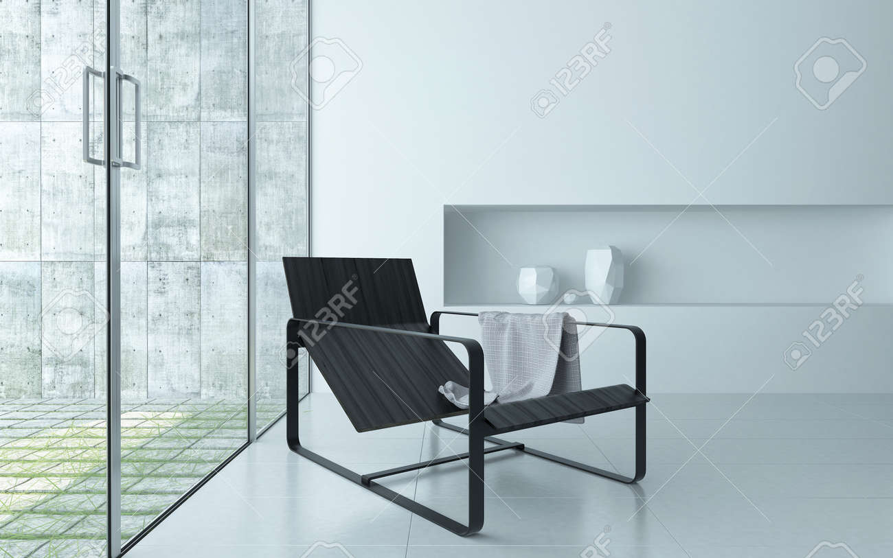 Modern comfortable recliner chair on a metal frame in a modern minimalist white living room interior : comfortable recliner chair - islam-shia.org