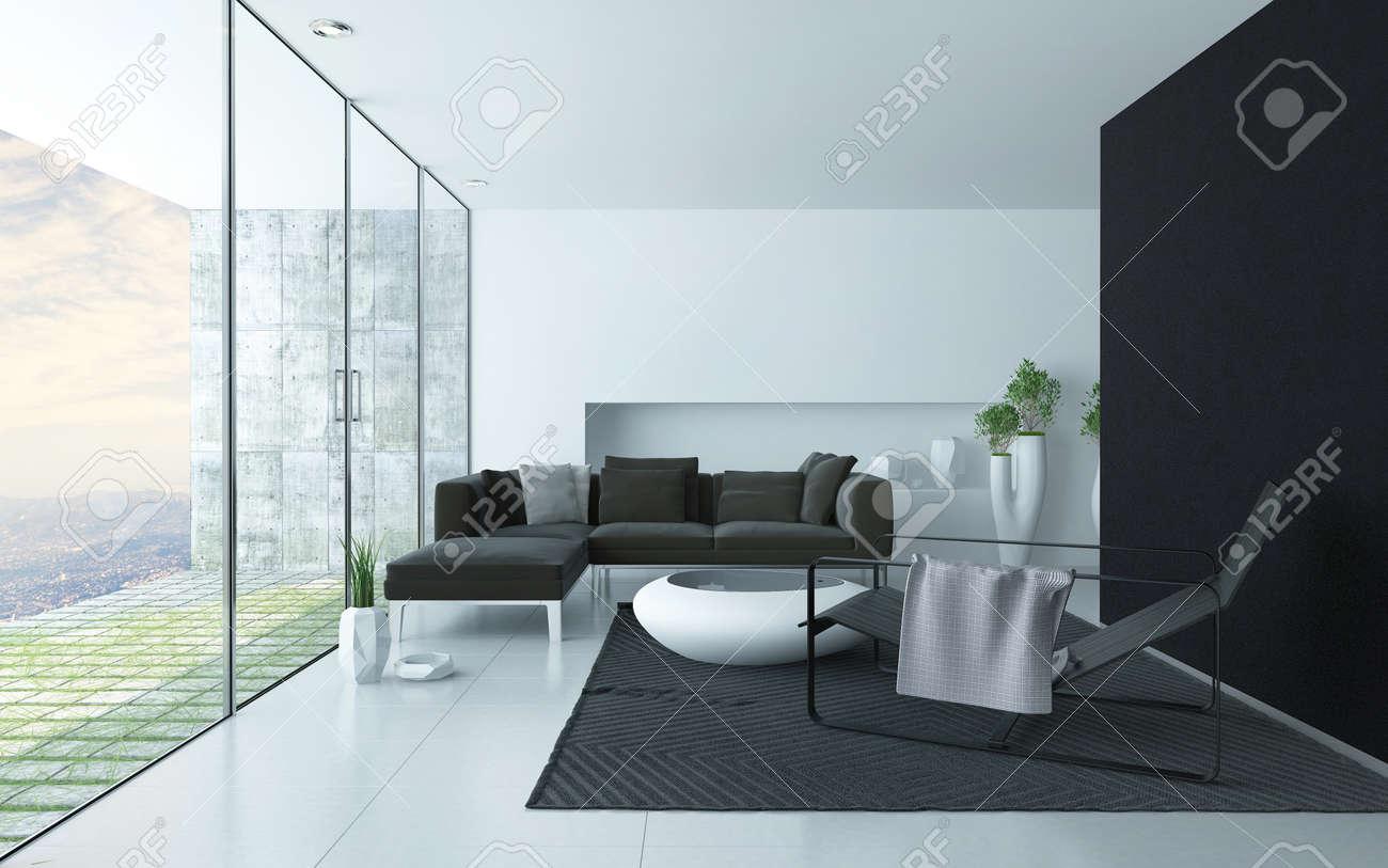 Antraciet en wit moderne woonkamer interieur met een glazen wand ...