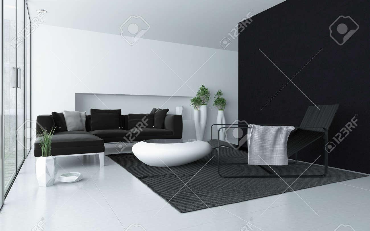 Minimalist Grau Und Wohnzimmer Weiß Modernen Interieur Mit ...
