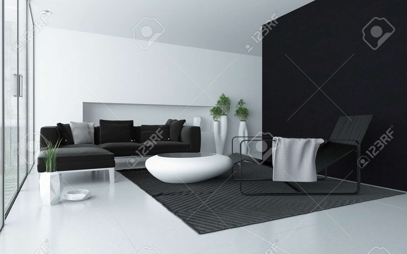 Minimalist Grau Und Wohnzimmer Weiß Modernen Interieur Mit Schwarzem Akzent  Wand Und Boden Bis Zur Decke