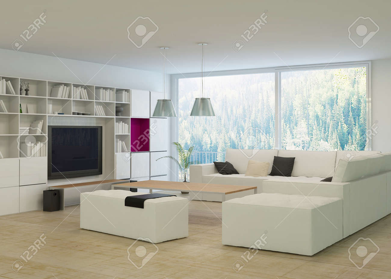 Modern Living Room With Beige Couch And White Cabinet Stock Photo ...