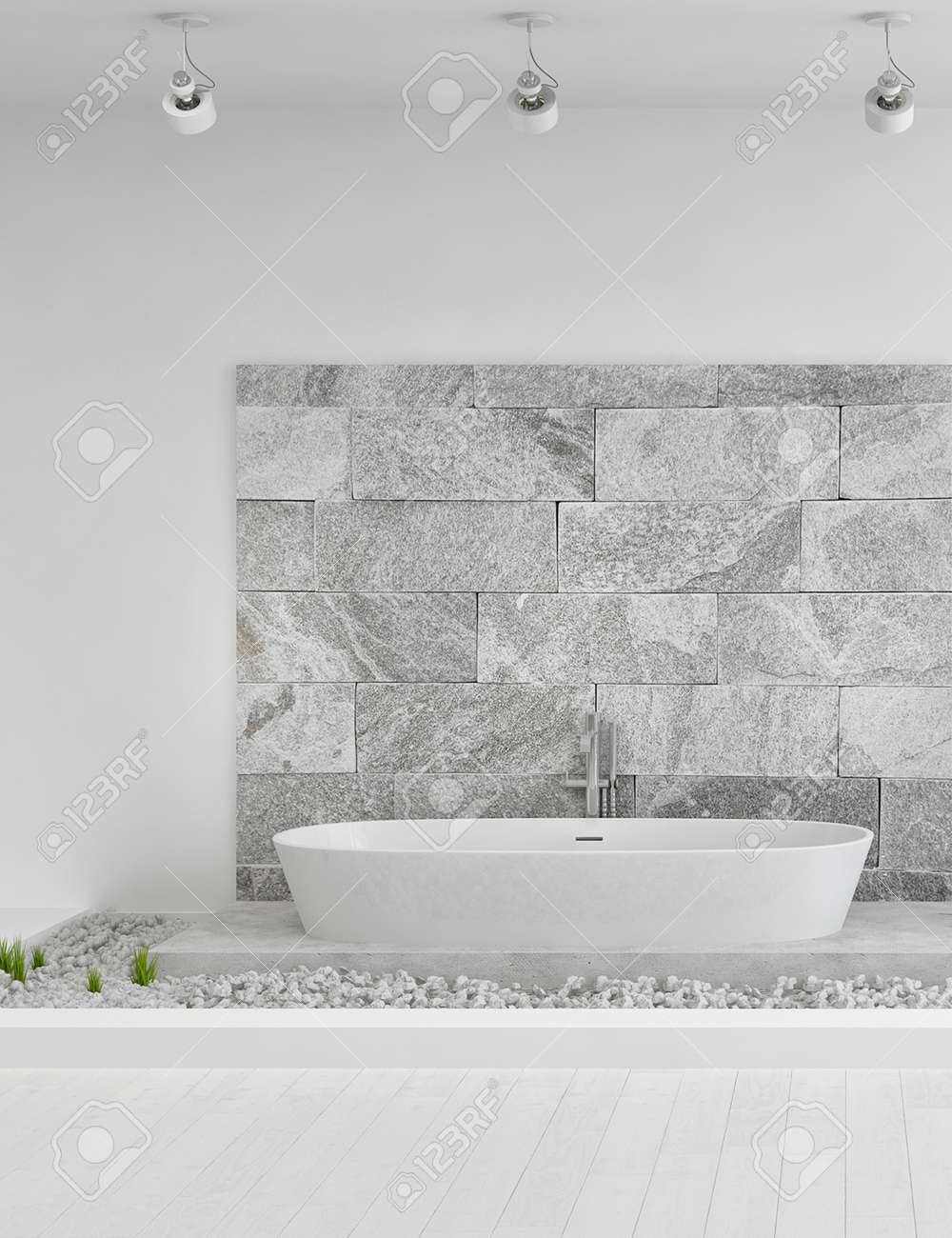 Modern Stone Designed White Bathroom Stock Photo, Picture And ...