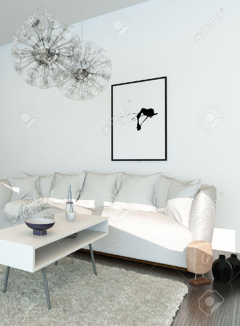 Modernes Wohnzimmer Mit Weißen Couch Standard Bild   31818993
