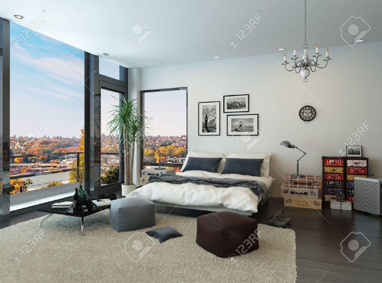Moderne Schlafzimmer Interieur Mit Vintage-Möbel Lizenzfreie Fotos ...