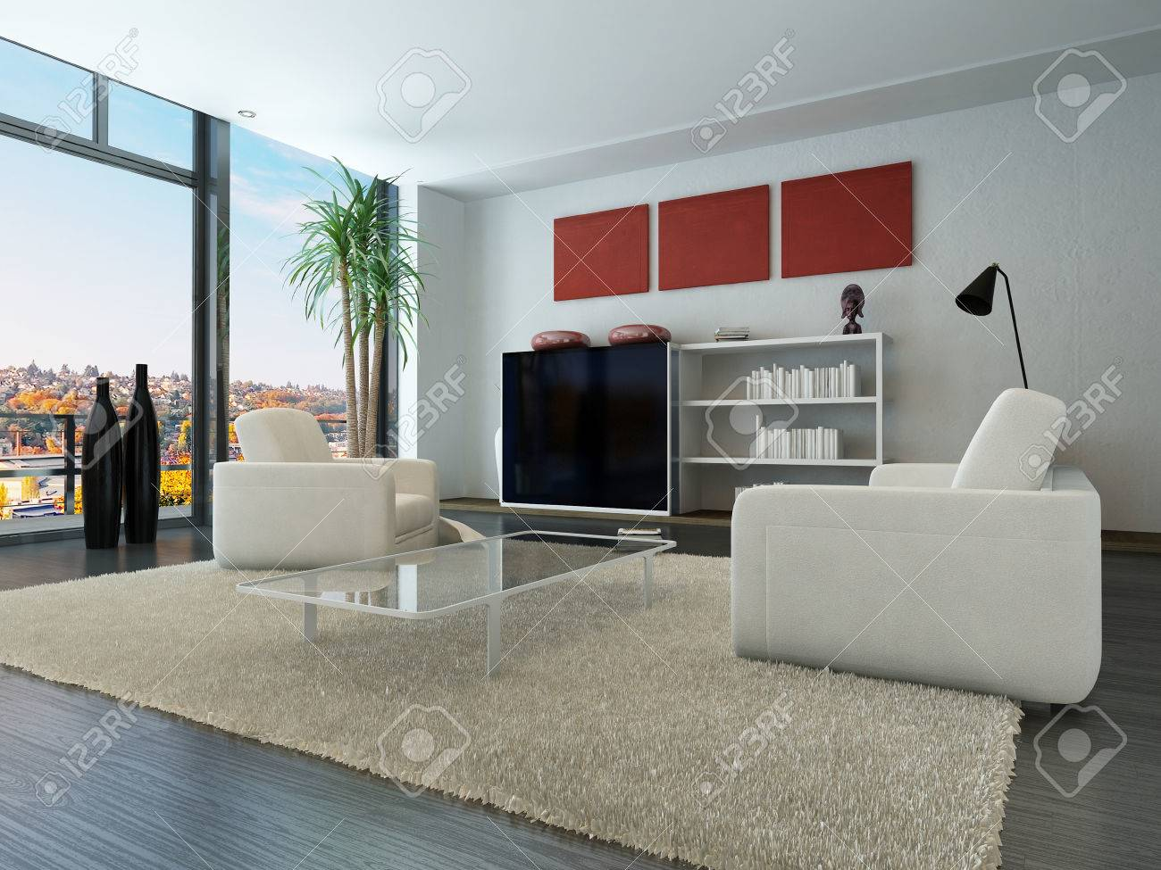 Trendy Living Room Modern Loft Interior With Trendy Living Room Furniture Stock Photo