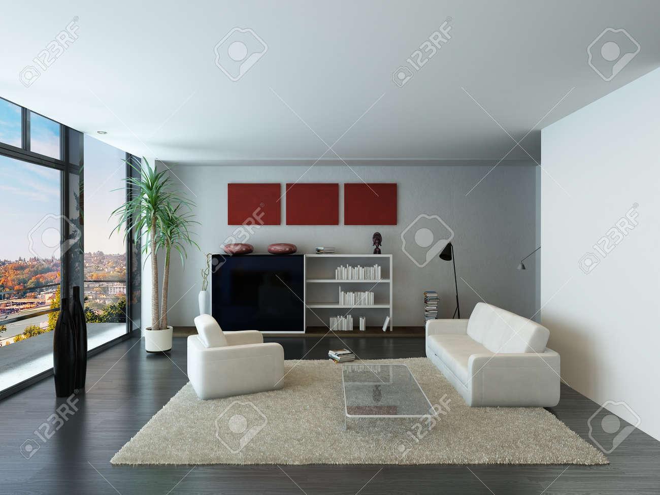 Moderne Loft Interieur Mit Trendigen Wohnzimmer Mobel Lizenzfreie