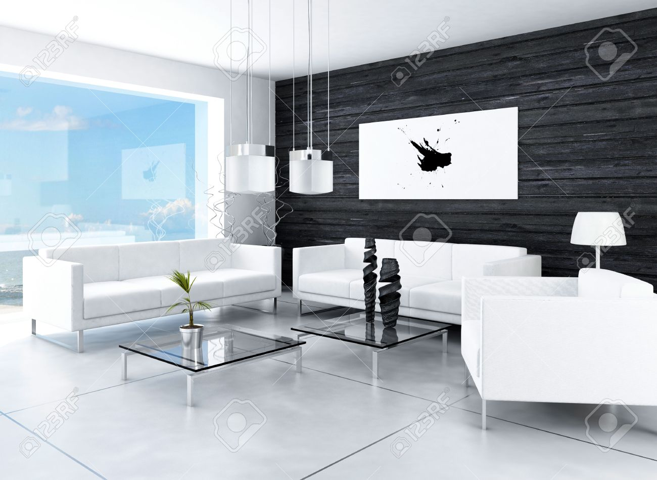 Diseno Moderno Blanco Y Negro Salon Interior Habitacion Fotos - Salones-de-diseo-moderno
