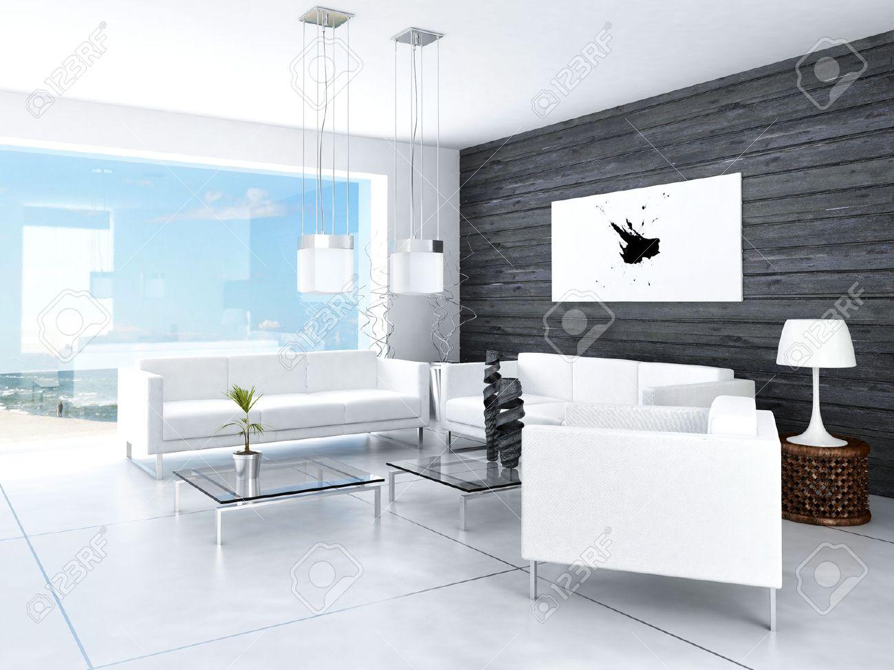 Modernes Design Schwarz Und Weiß Wohnzimmer Innenraum Lizenzfreie ...