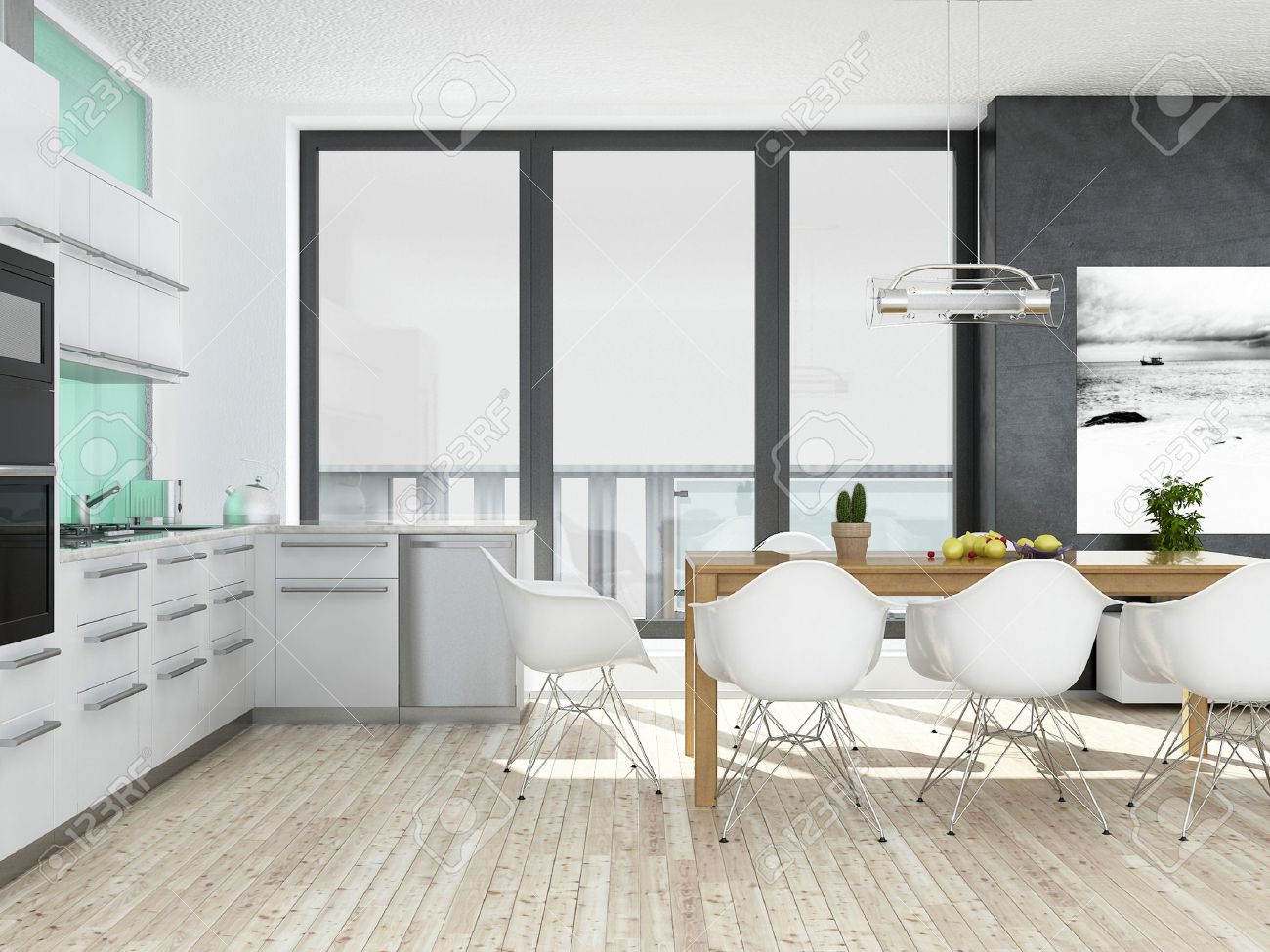 Modern White And Green Kitchen Interior With Wooden Floor Stock ...