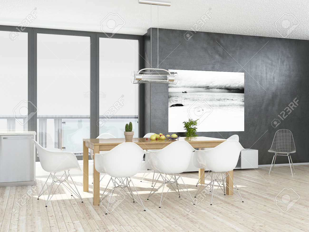 Modern Grey And White Dining Room With Wooden Floor Stock Photo