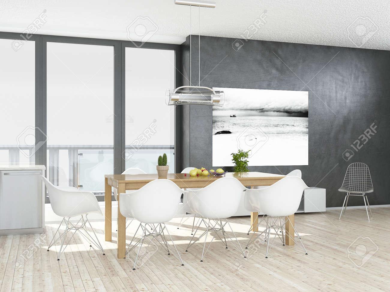 Esszimmer Grau | Moderne Grau Und Weiss Esszimmer Mit Holzboden Lizenzfreie Fotos
