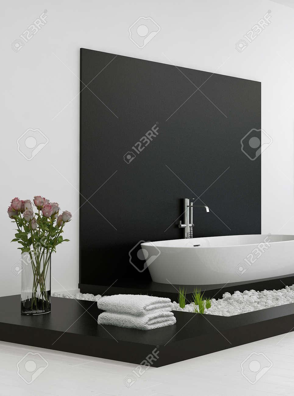 Quelle Peinture Utiliser Pour Une Salle De Bain ~ Salle De Bains Moderne En Noir Et Blanc Banque D Images Et Photos