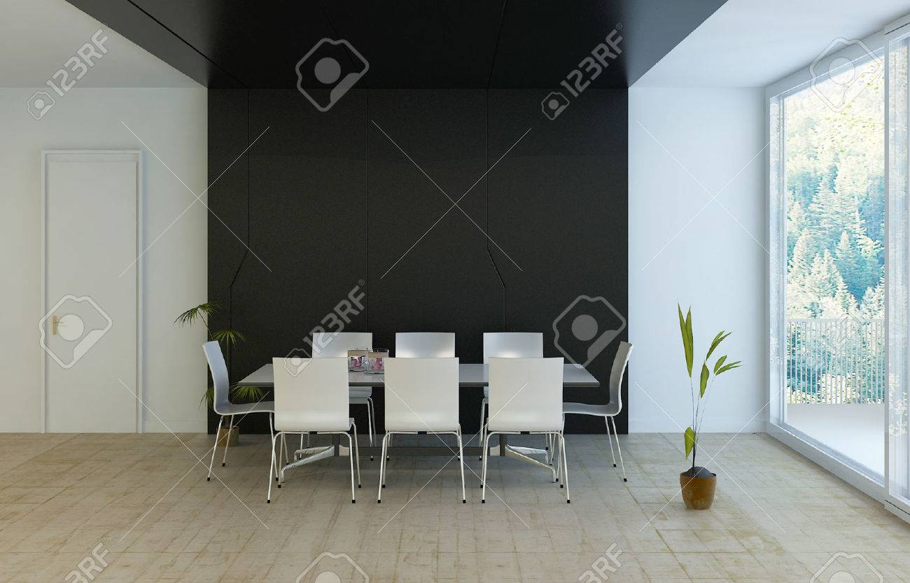 Modern Luxury Black And White Dining Room Stock Photo, Picture And ...