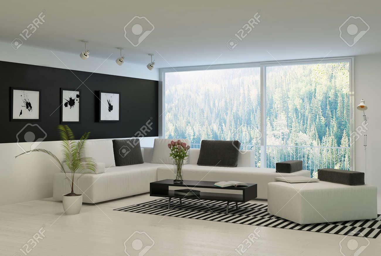 Moderne woonkamer met grote ramen en zwarte muur royalty vrije ...