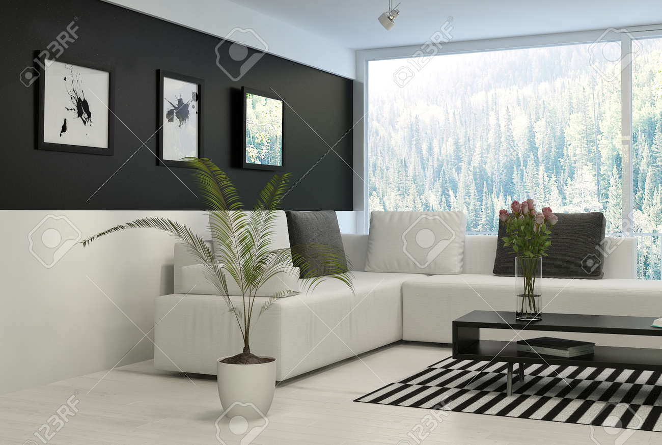Modern Living Room With Huge Windows And Black Wall Stock Photo ...