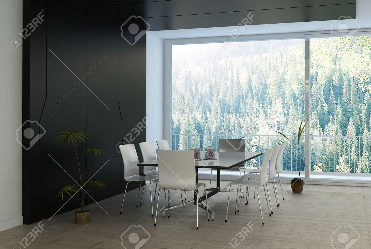 Moderne Luxus Schwarz Weiss Esszimmer Lizenzfreie Fotos Bilder Und