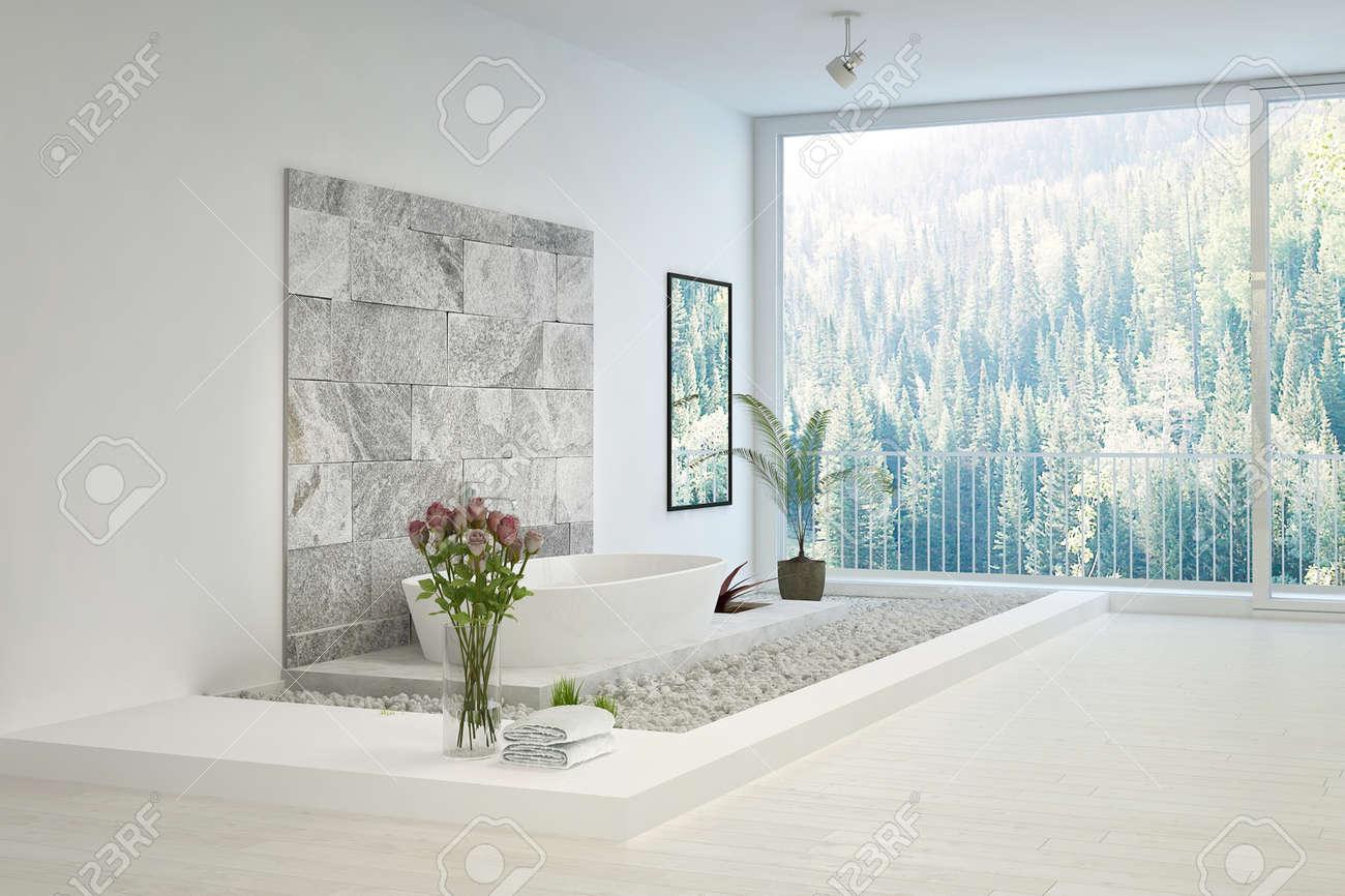 Moderne Stein Ausgelegt Weiße Badezimmer Lizenzfreie Fotos, Bilder ...