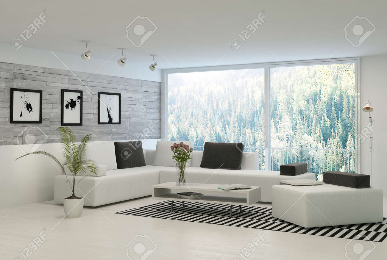 Moderne Wohnzimmer Mit Großen Fenstern Und Steinmauer Lizenzfreie