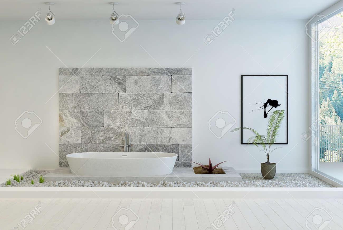 Piedra De Diseño Moderno Cuarto De Baño Blanco Fotos, Retratos ...