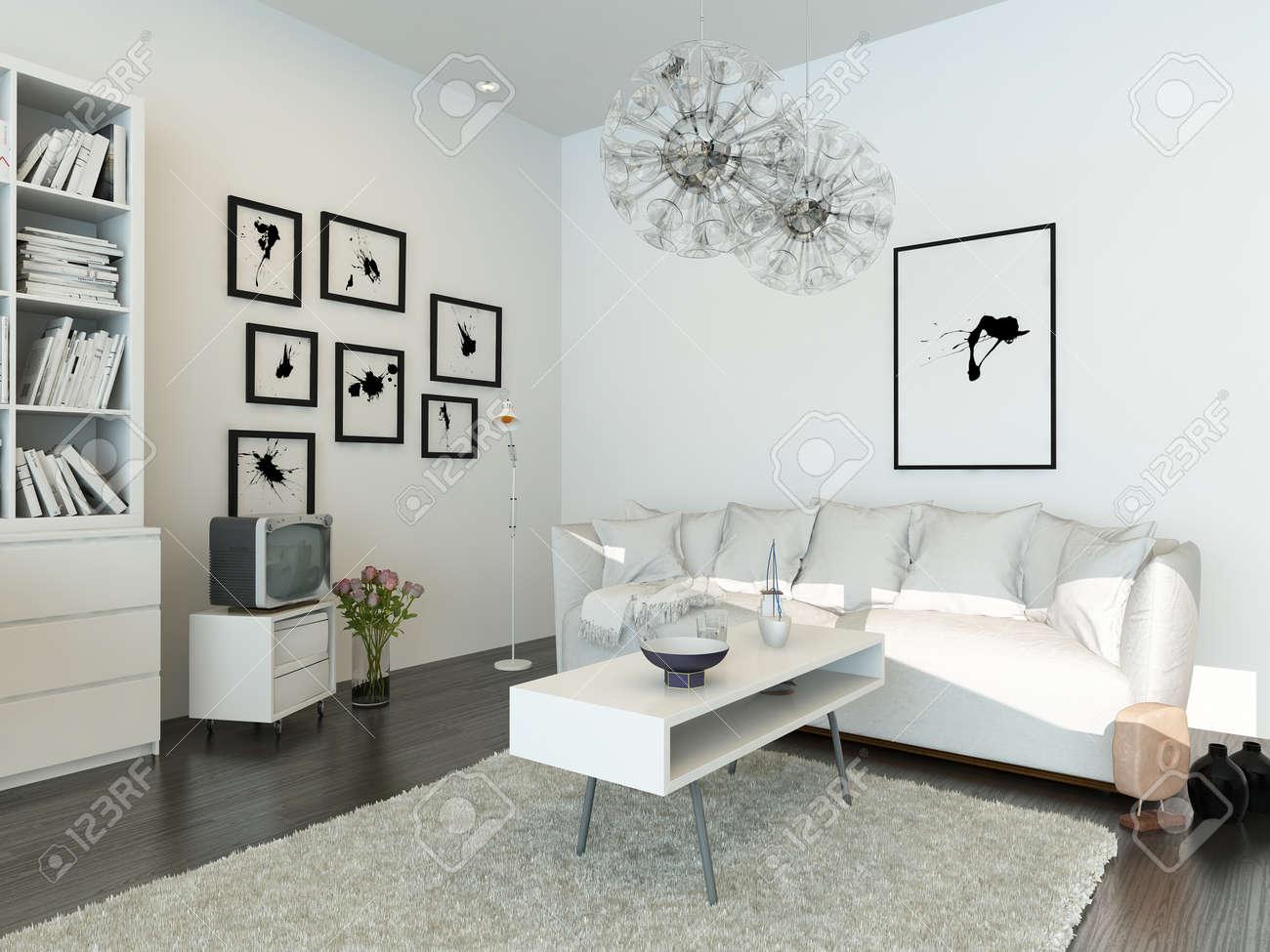 Moderne Wohnzimmer Mit Weißen Couch Und Weißen Schrank Lizenzfreie ...