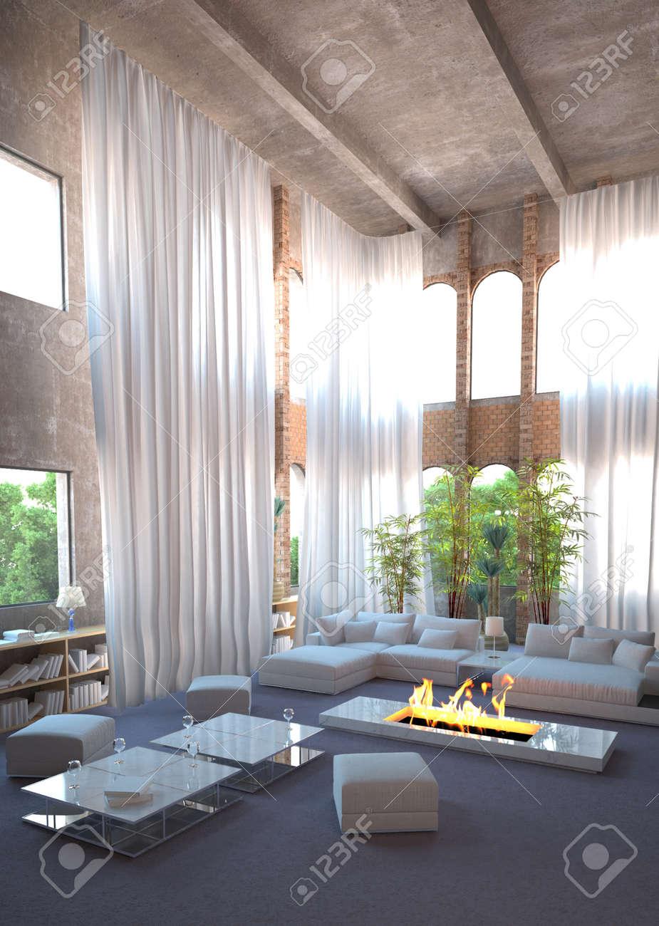 Modernes Design Loft Interieur Und Weiße Vorhänge Lizenzfreie Fotos ...