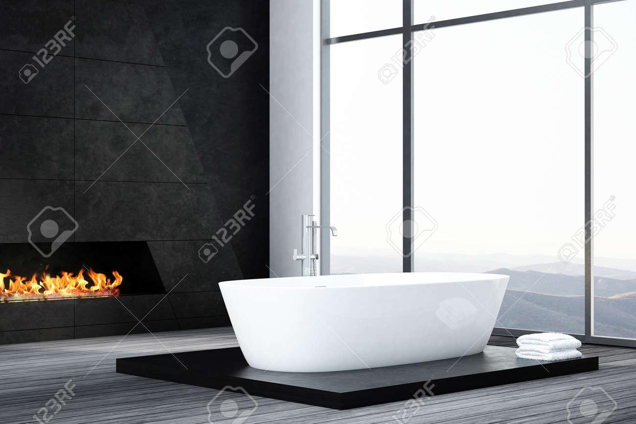 Salle De Bain Foncee ~ int rieur de salle de bains avec baignoire fonc et chemin e banque