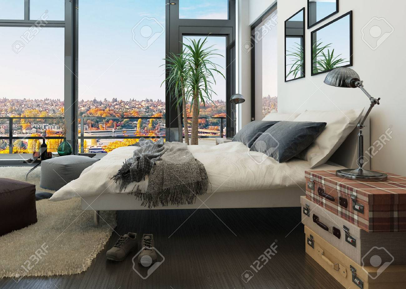 Modern Bedroom Interior With Vintage Furniture Stock Photo Picture