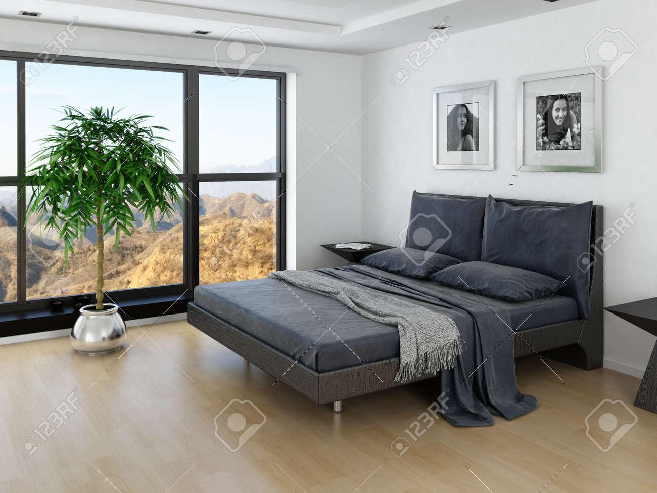 Moderne Schlafzimmer Interieur Mit Grau-Bett Und Große Fenster ...