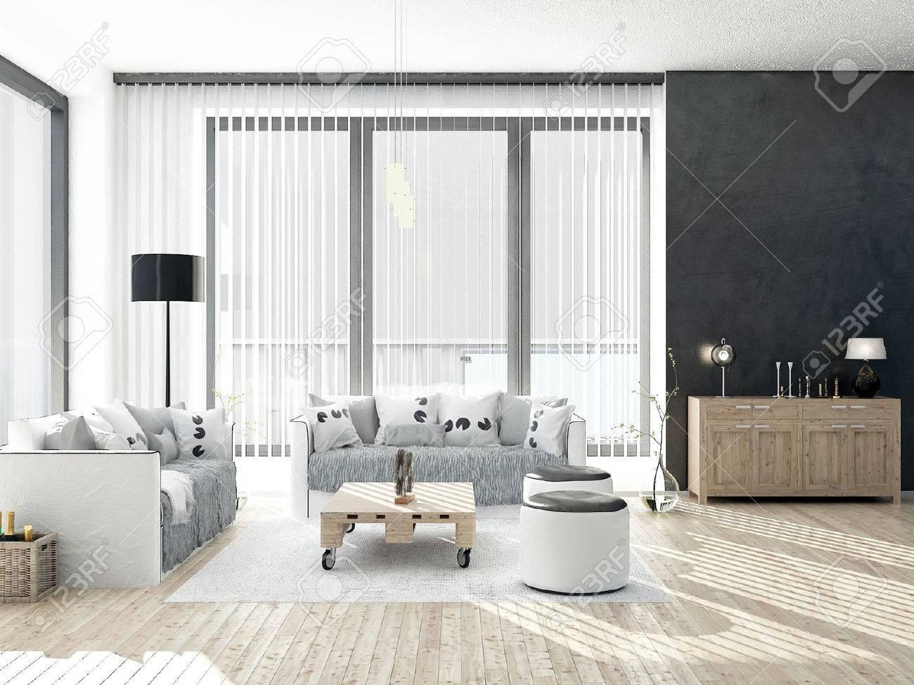 Salon noir et blanc avec plancher en bois banque d'images et ...
