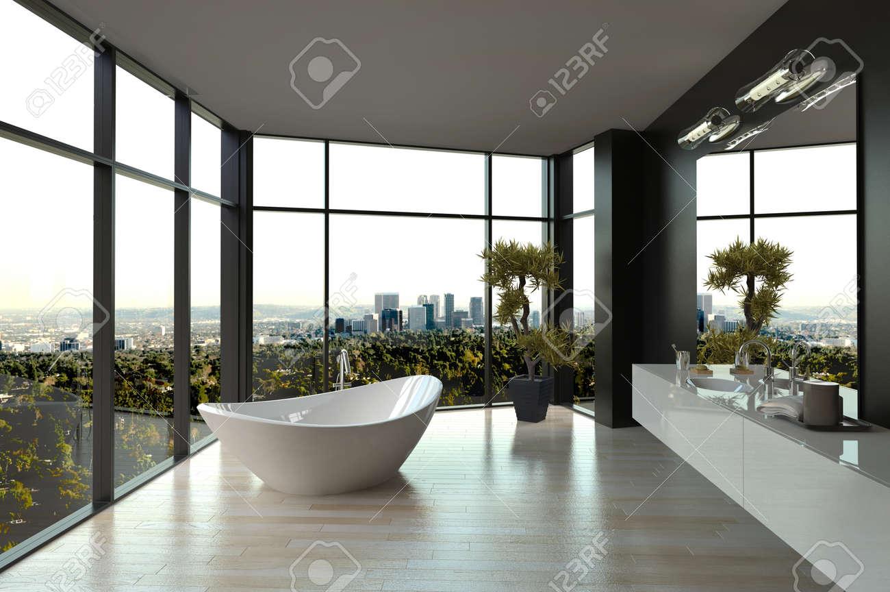 Moderne Weiße Luxus-badezimmer Interieur Lizenzfreie Fotos, Bilder ... Luxus Badezimmer