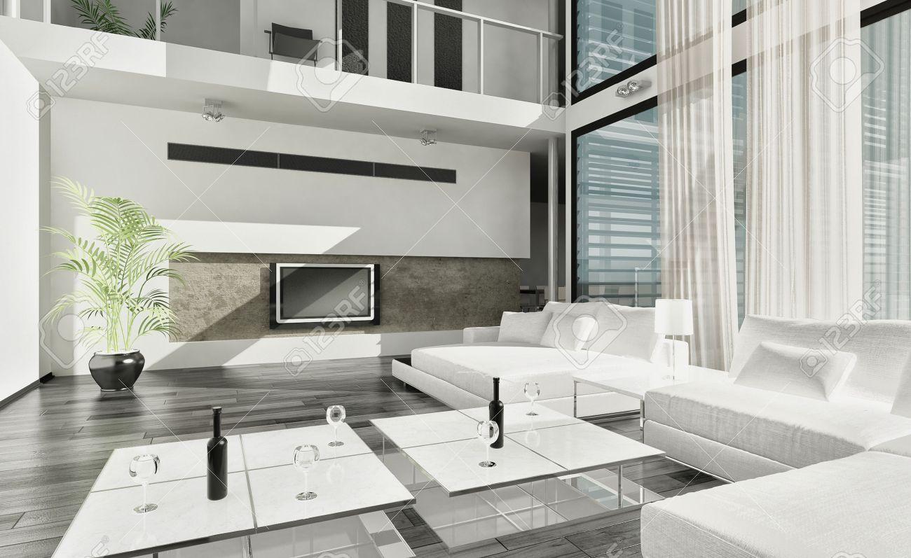 Intérieur de la salle de vie contemporaine de luxe moderne