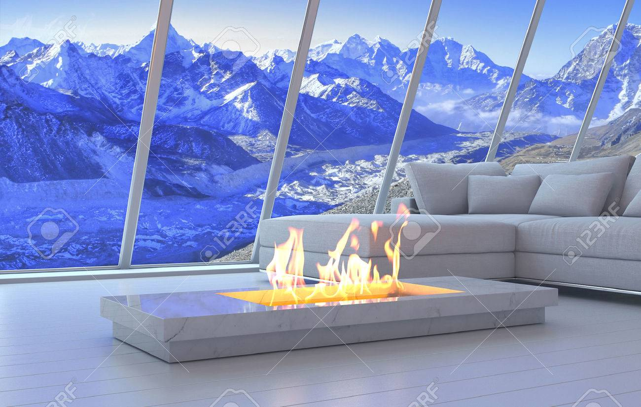 3D Rendering Of Couch And Fireplace With Scenery View Of Mountains ...