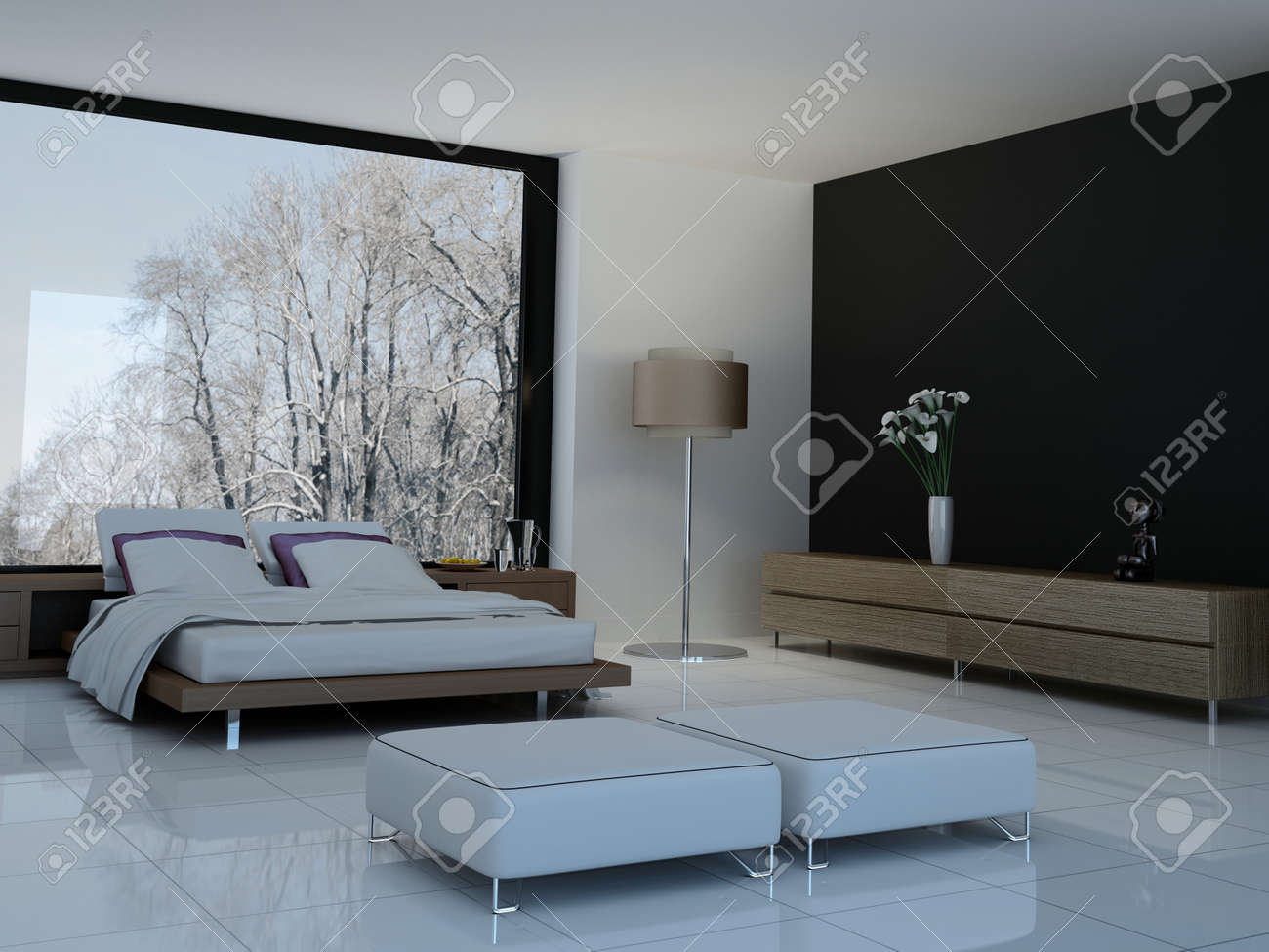 Ultramodern bedroom interior with double bed against panorama windows Stock  Photo   32226348. Ultramodern Bedroom Interior With Double Bed Against Panorama