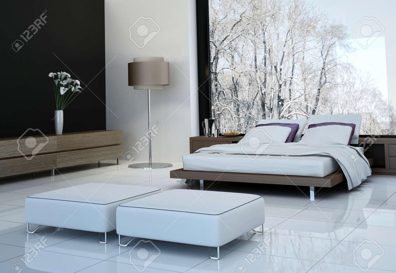 Intérieur ultramoderne chambre avec lit double contre les fenêtres  panoramiques