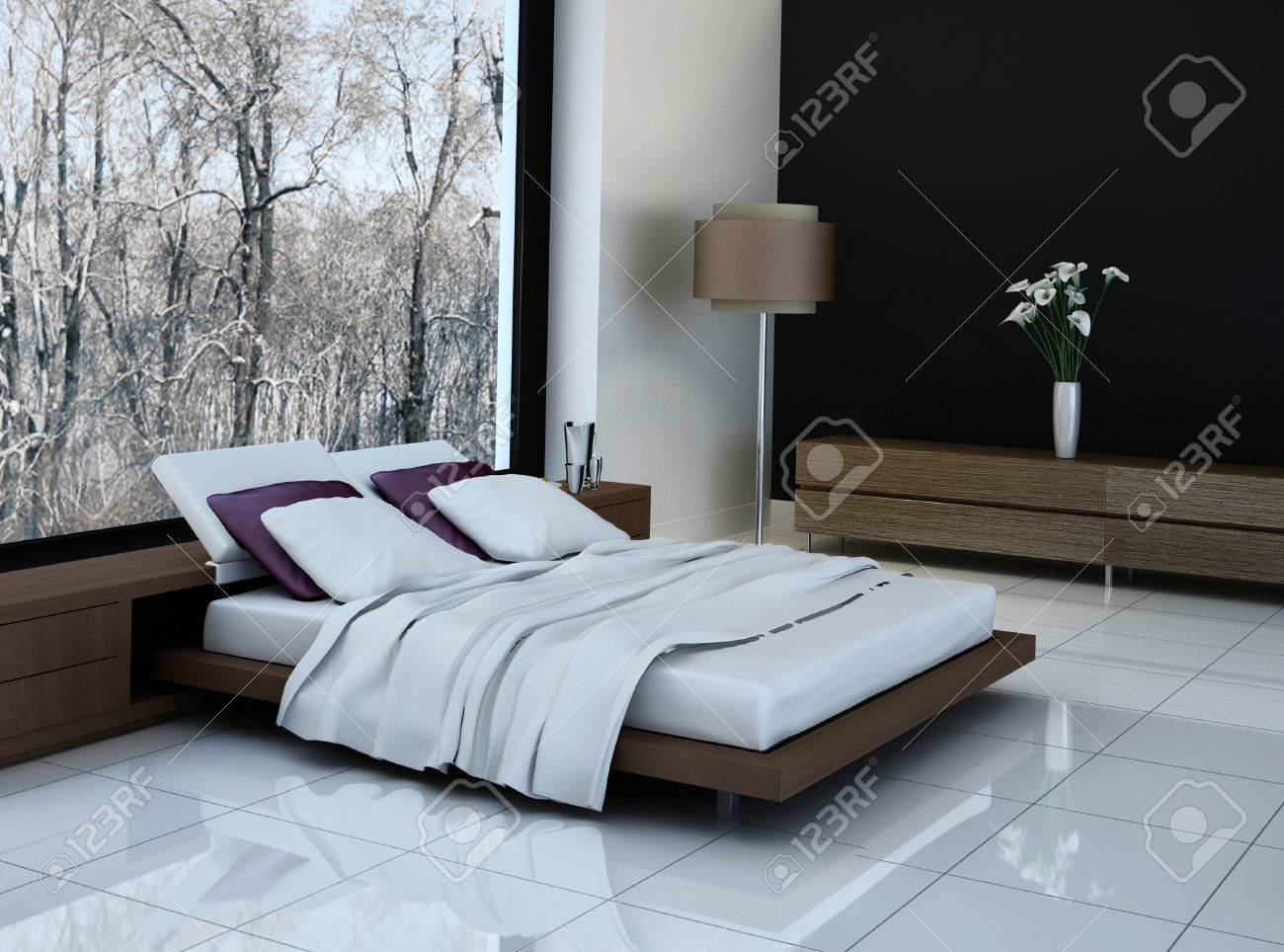 Ultramodern bedroom interior with double bed against panorama..