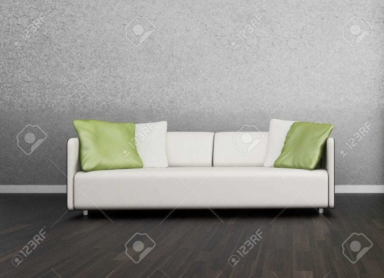 3d rendering von loft wohnung innenraum mit weißen couch gegen ...