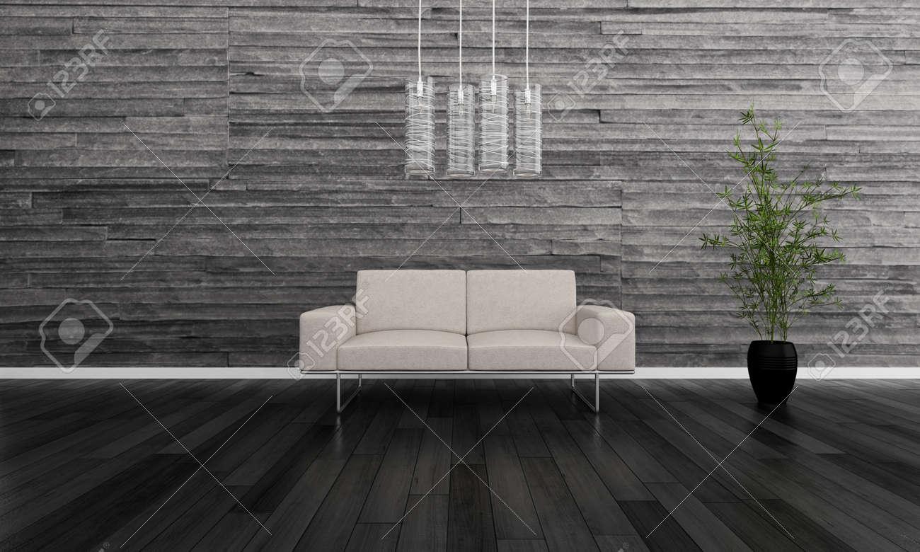 Moderne woonkamer interieur met beige bank royalty vrije foto ...