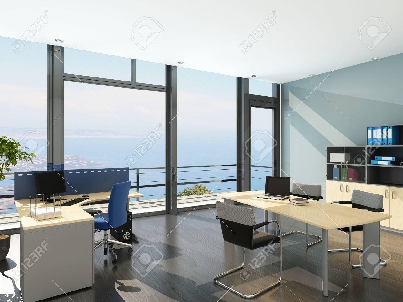 Rendu 3d De L Interieur De Bureaux Moderne Avec Vue Panoramique