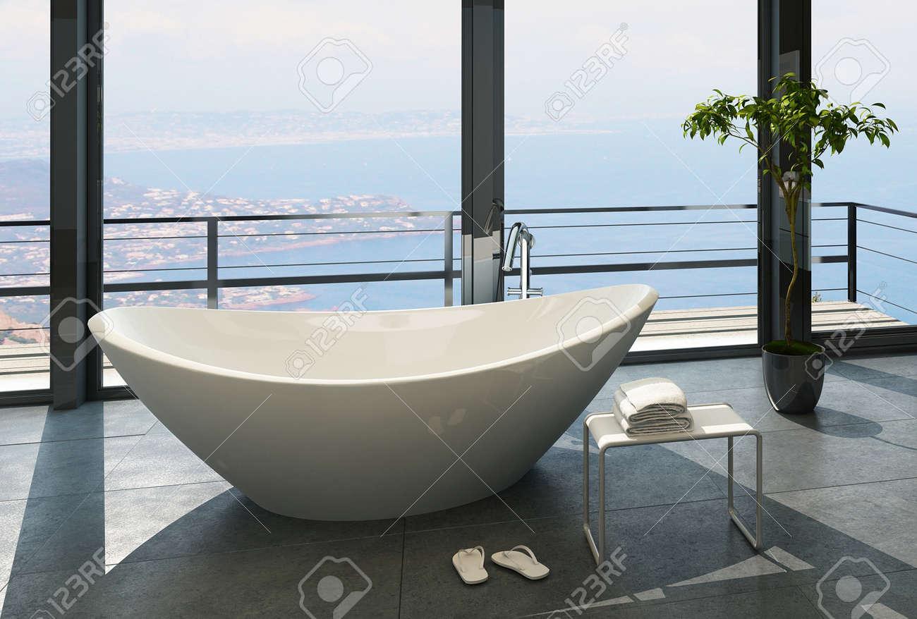 Salle De Bain Avec Vue ~ int rieur salle de bains avec fen tres et vue panoramique banque d