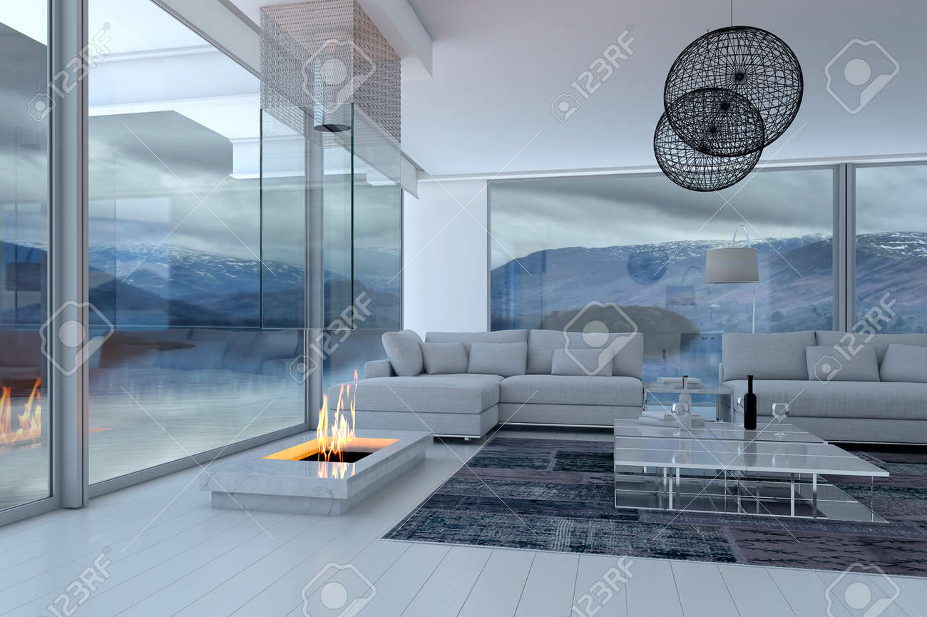 3D Rendering Of Modern Luxury Living Room Interior And Scenic View Stock  Photo   32226538
