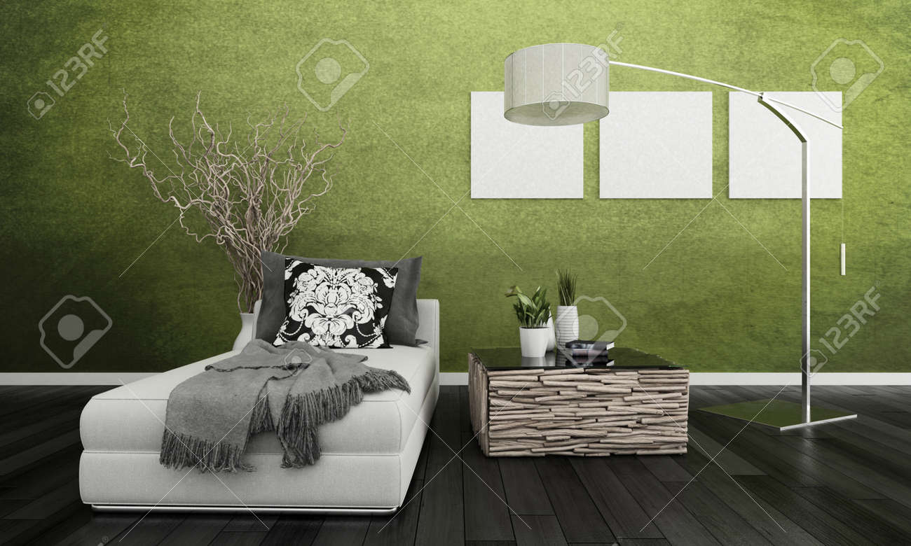 3D Rendering Of Loft Apartment Interior With White Couch Against Lime Green  Wall Stock Photo