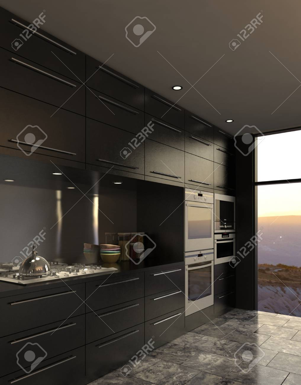 3d Rendering Of Modern Luxury Kitchen Interior Stock Photo Picture