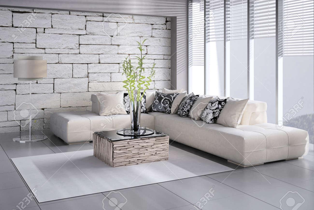 Wunderbar Interior Of Wohnzimmer Mit Französisch Fenster Und Blick Standard Bild    32227131