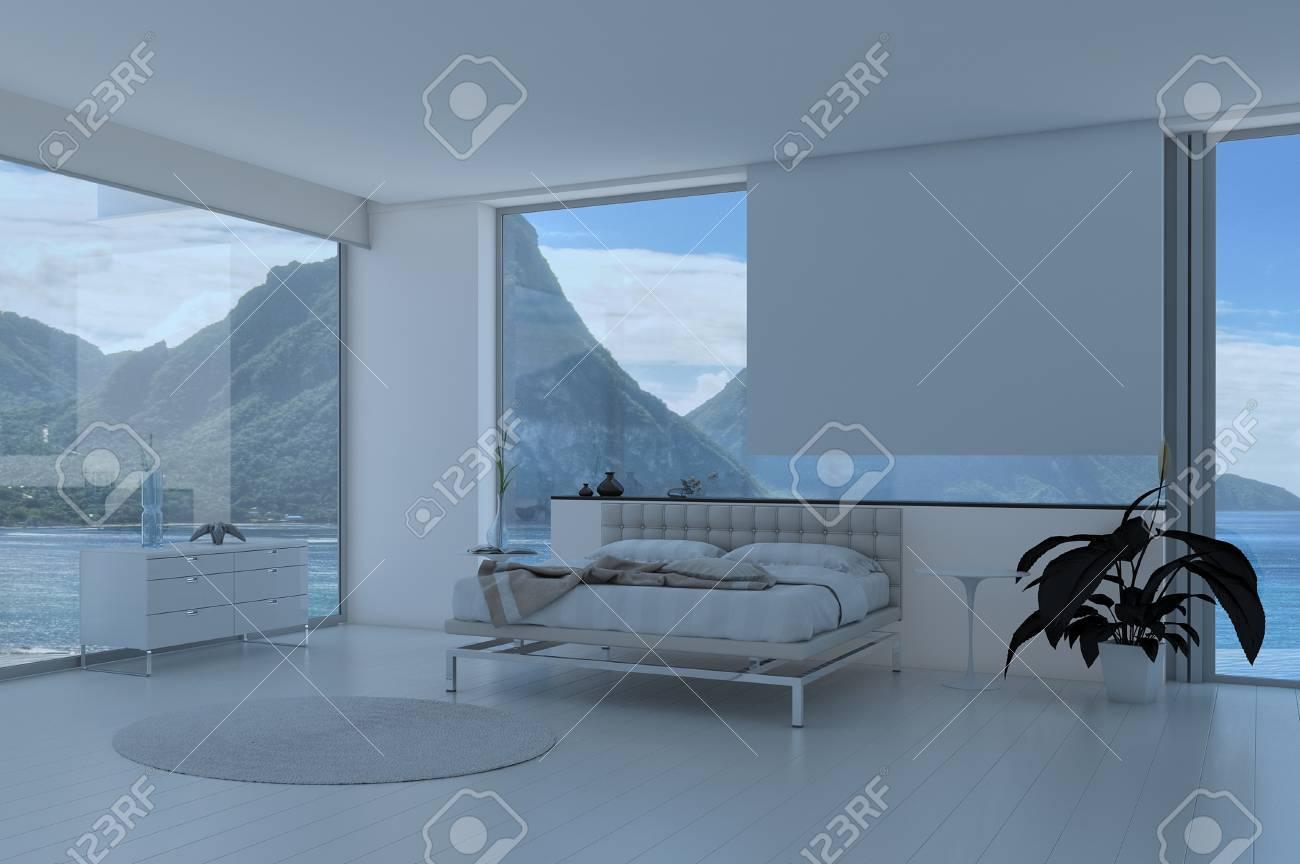 Schlafzimmer Interieur Mit Französisch Fenster Und Malerischen Blick ...