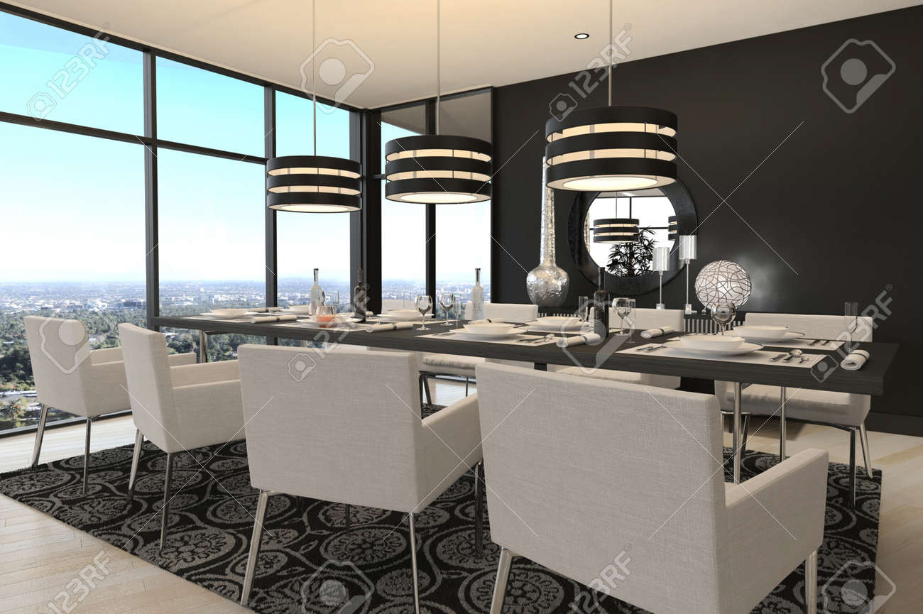 3d rendering of modern luxury dining room interior and scenic view stock photo 32227172