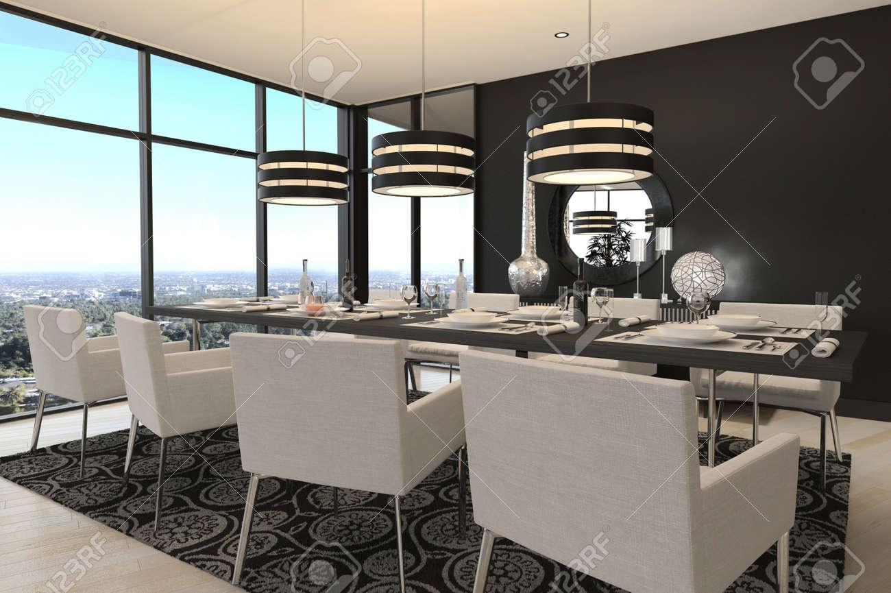 Rendu 3d de l'intérieur à manger de luxe moderne chambre et vue ...