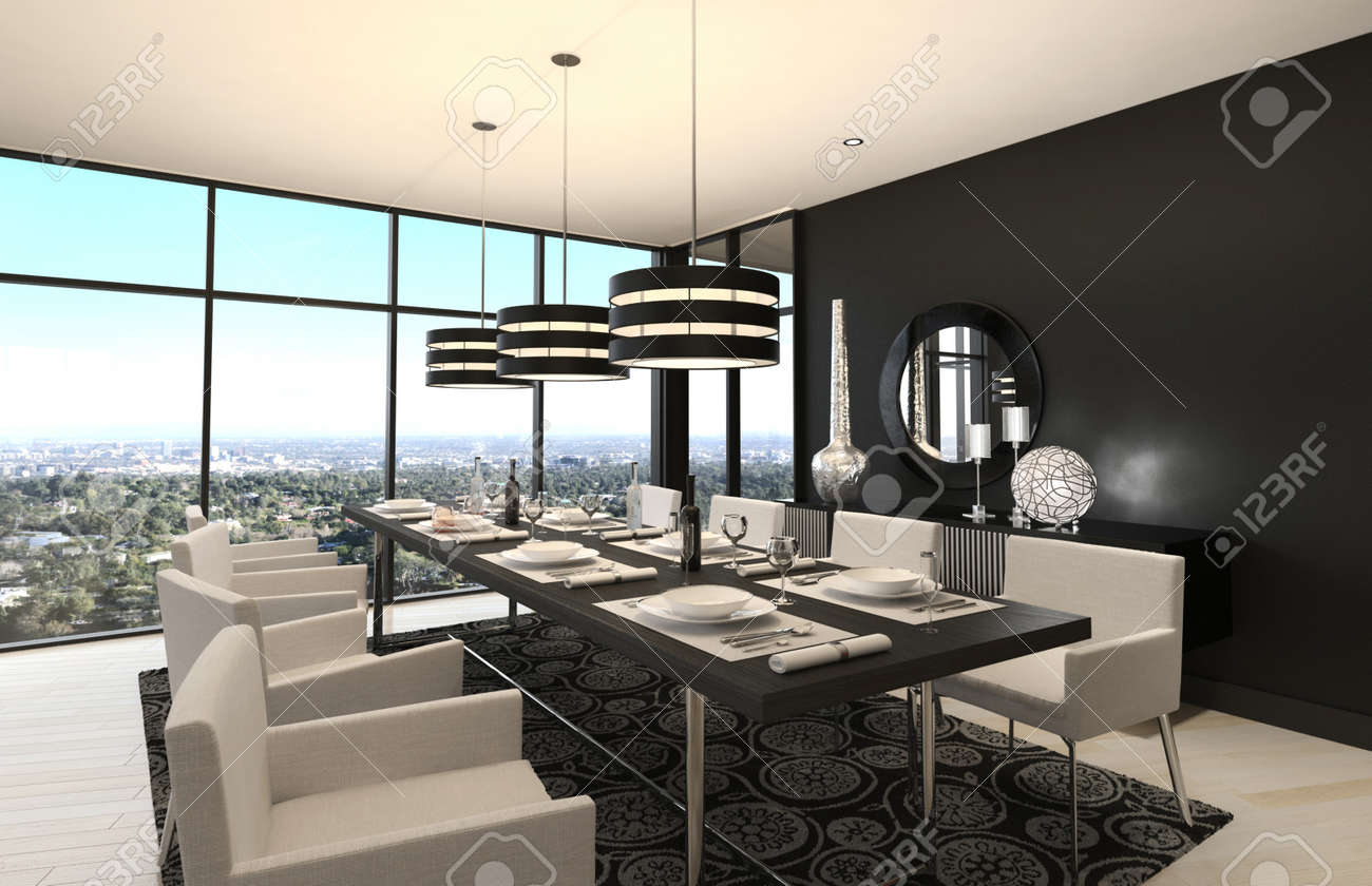 3D Rendering Of Modern Luxury Dining Room Interior And Scenic ...