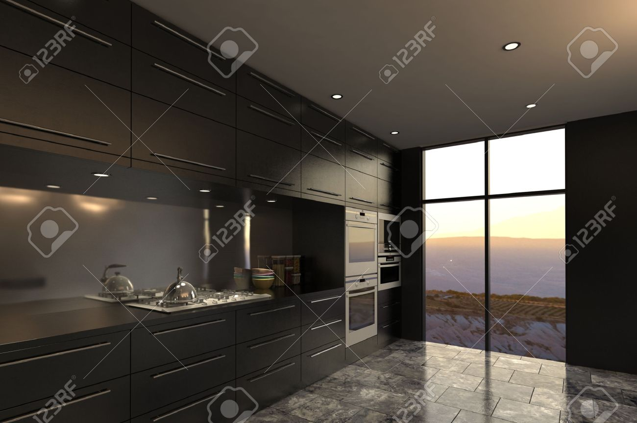 3D Rendering Of Modern Luxury Kitchen Interior Stock Photo